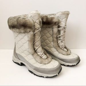 L.L. Bean gray quilted fur edge boots